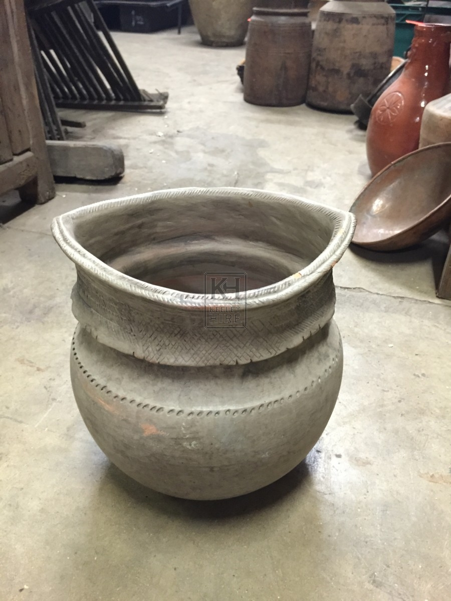 Grey Pot with Shaped Top