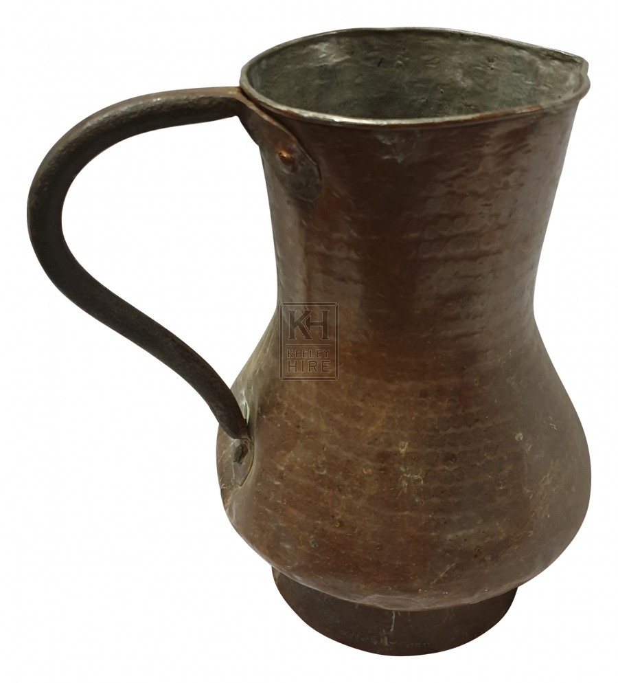 Shaped copper jug with handle