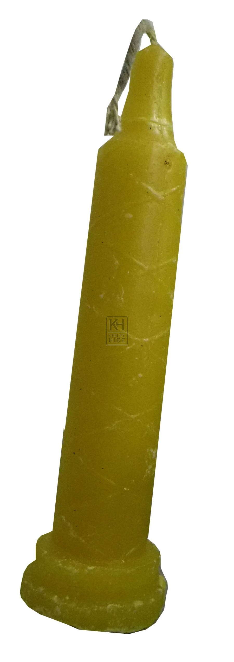 Yellow curved 9 inch candle