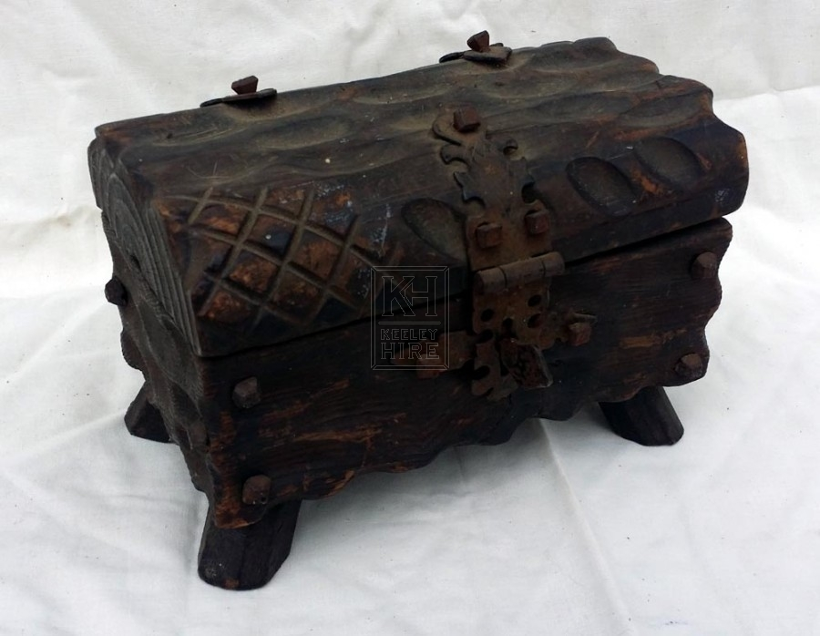 Very small carved wood chest