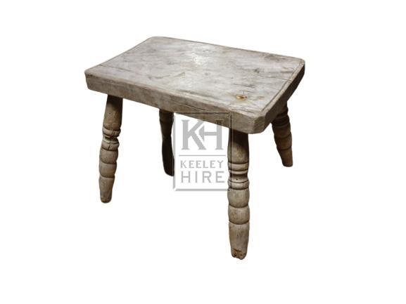Low wood turned leg stool