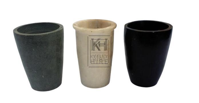 Stone beakers - asst