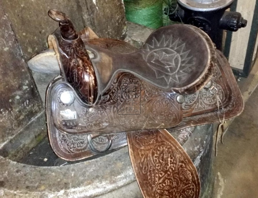 Brown leather western saddle
