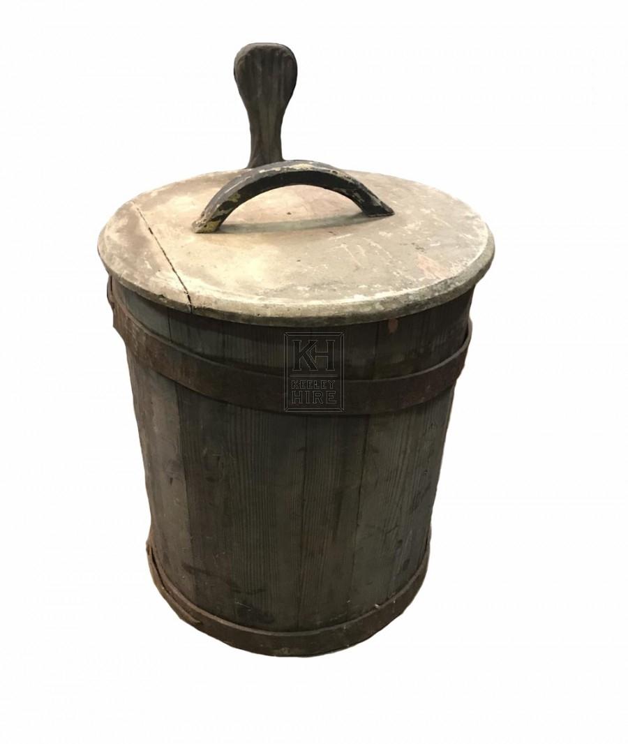 Wood tub with handle & lid