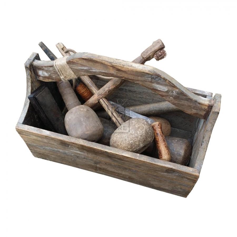 Wood tool box with handle