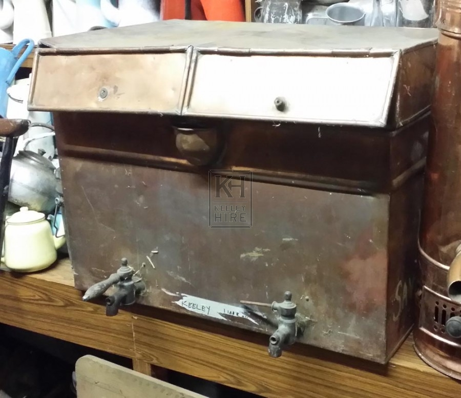 Large double copper urn with taps