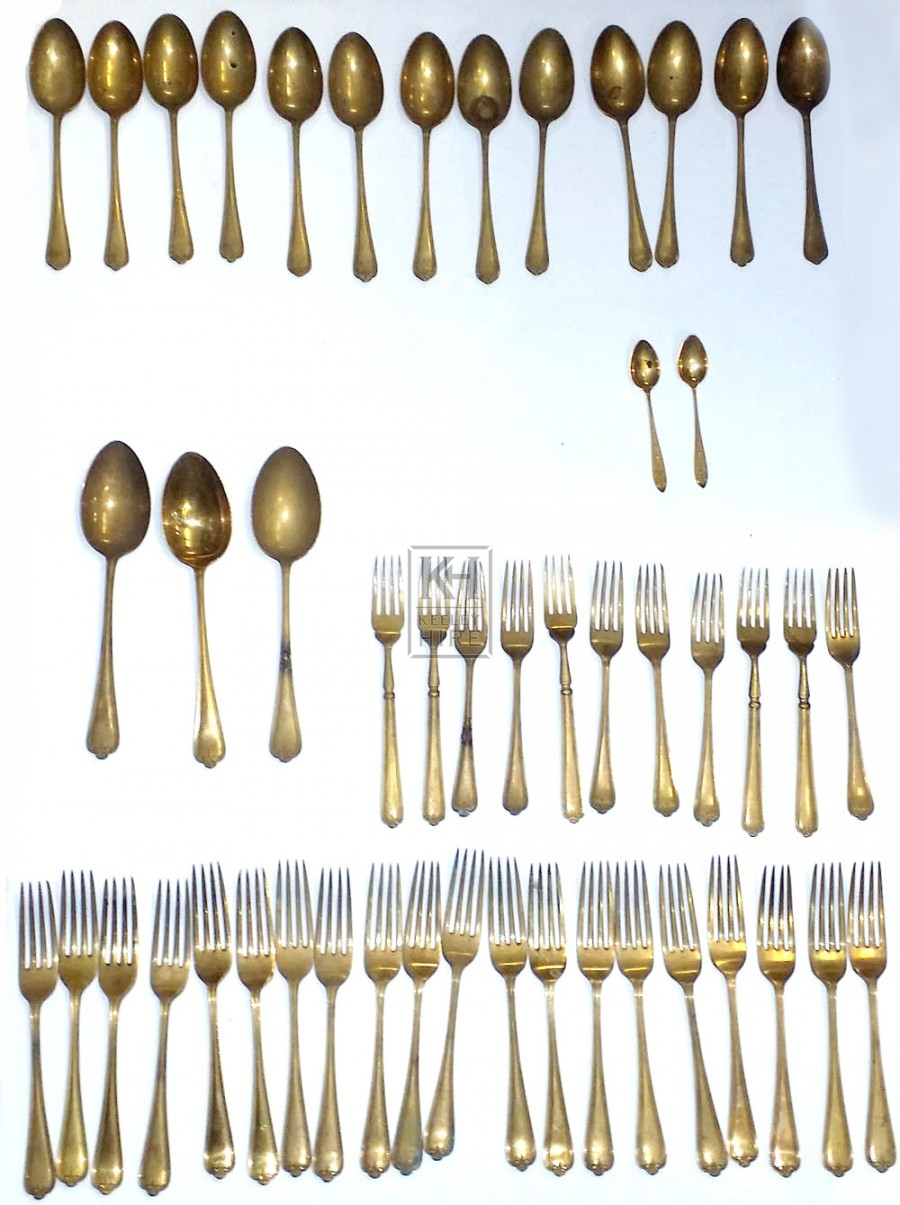 Gold cutlery forks