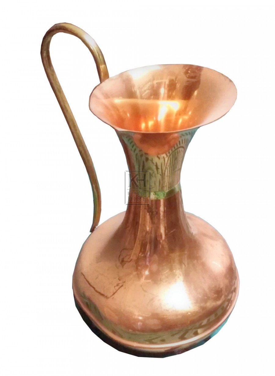 Shaped shiny copper jug