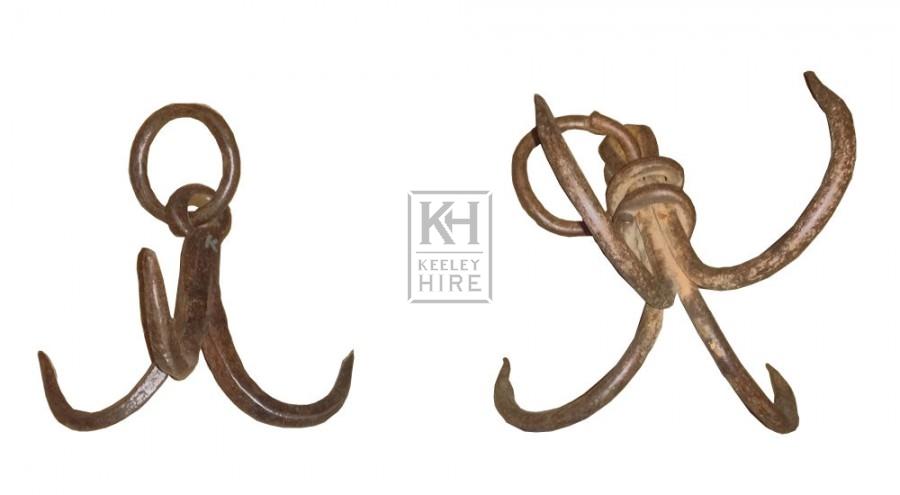 Small iron grappling hooks