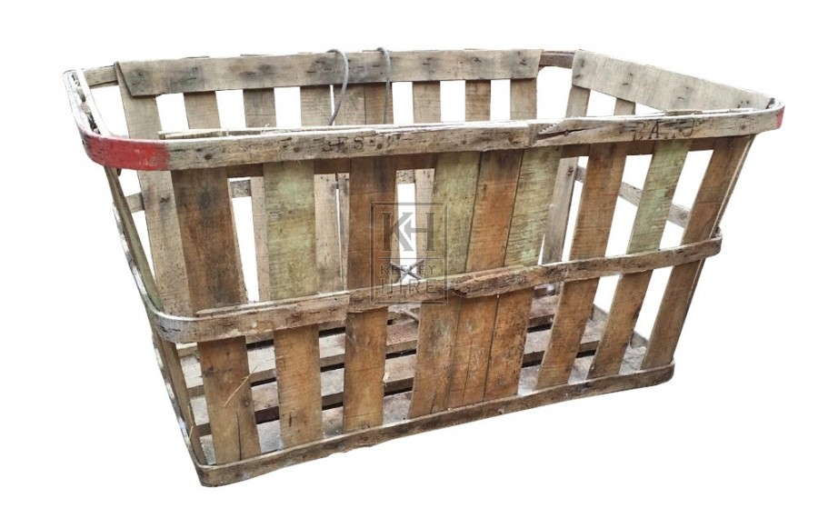 Large slatted oval fruit crate