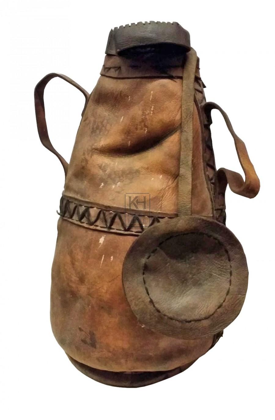 Tall bulbous leather bag