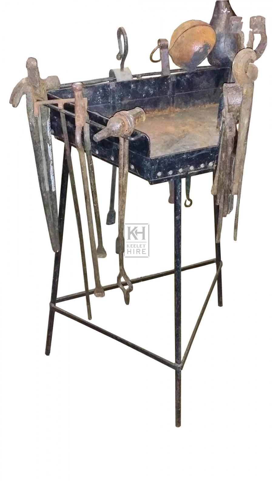 Triangular blacksmiths iron rack