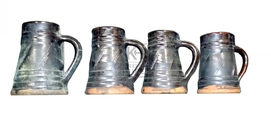 Black glazed earthenware jug