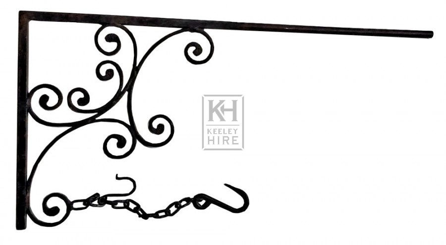 Iron scroll bracket with long arm