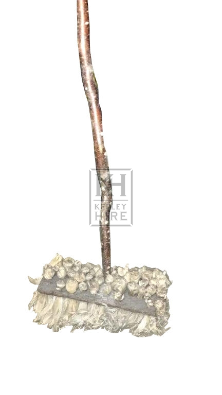 Corn broom with rustic handle