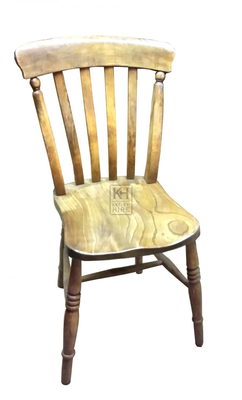 Slatted back wood chair turned
