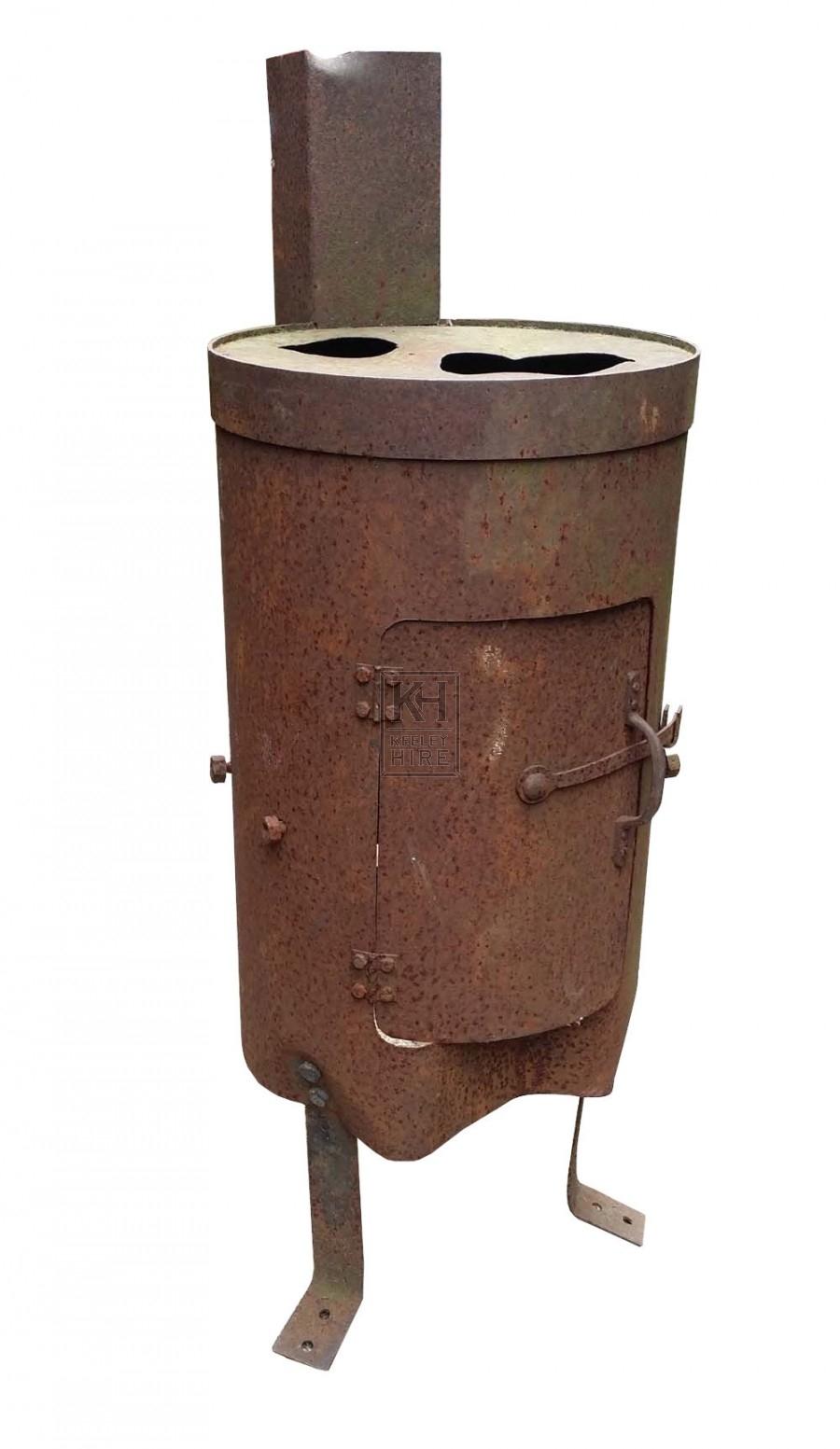 Drum brazier with chimney
