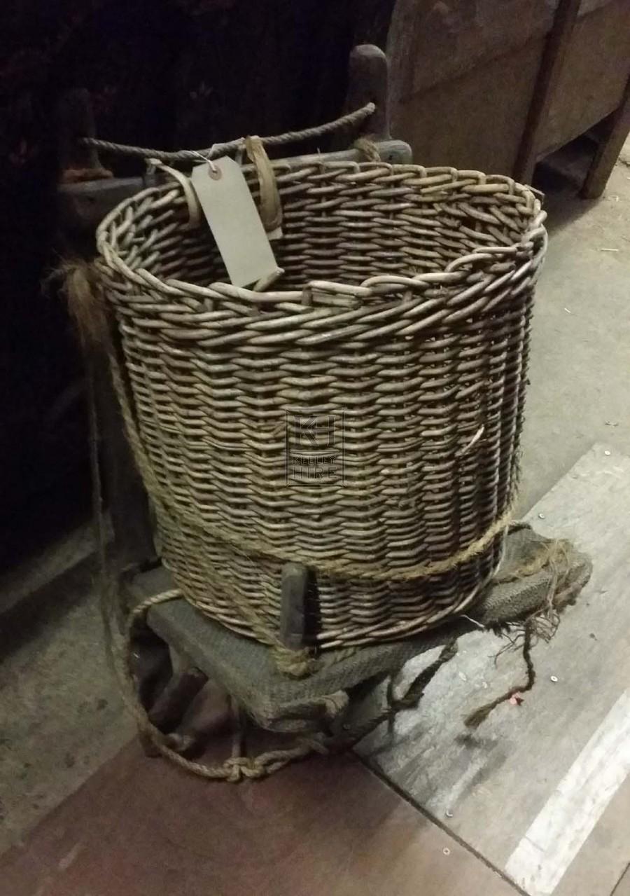 Wood back rack with basket # 1