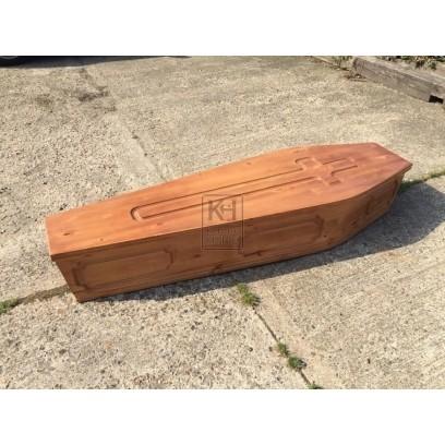 Light Wood Coffin carved