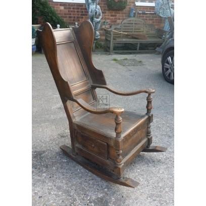 Dark wood large rocking chair