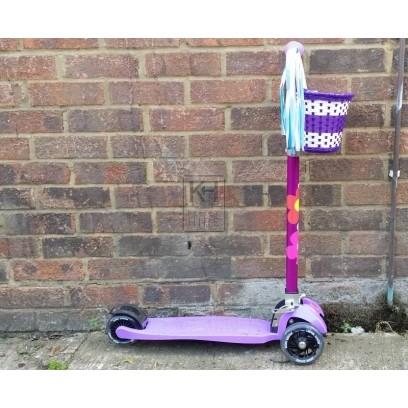 3-wheel childs purple scooter & basket